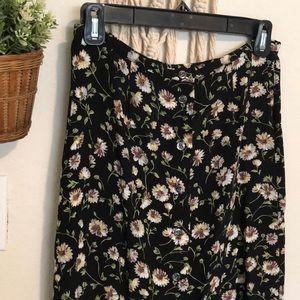 Vintage button down floral maxi skirt